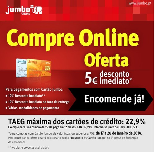 Oferta 5€ | JUMBO | até 28 janeiro - Compras Online