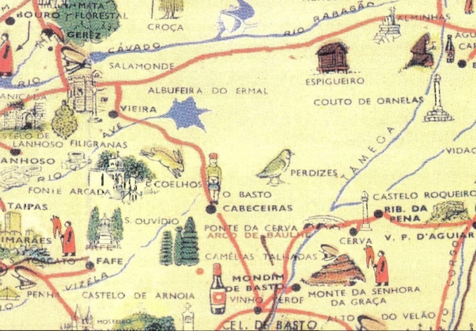 Cerva - Mapa Antigo Anbiente em Portugal - Excerto