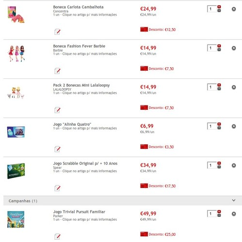 Bonecas e Jogos (excepto videojogos ) 50% em cartão