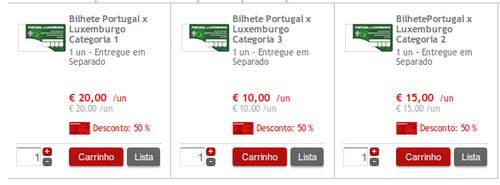 Seleção Portuguesa Apoio com 50% - Portugal - Luxemburgo