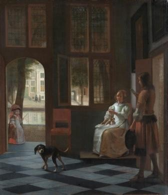 Man_hands_a_letter_to_a_woman_in_a_hall,_by_Pieter