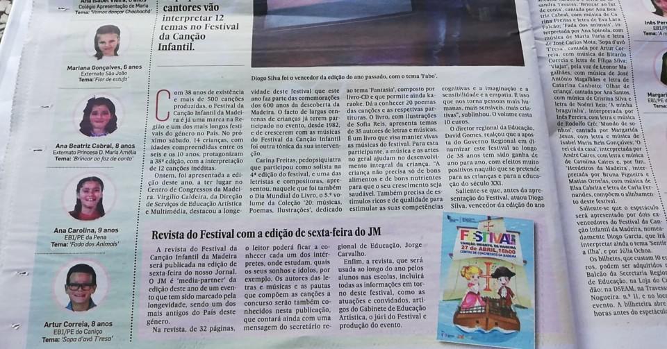 Jornal da Madeira - dia 24 de abril 2019- noticia