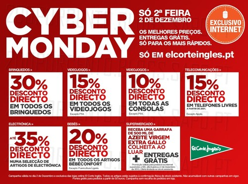 Cyber Monday | EL CORTE INGLÉS | 2 dezembro