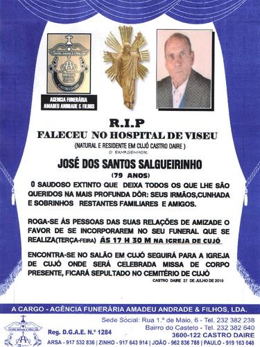 RIP- DE JOSÉ DOS SANTOS SALGUEIRINHO-79 ANOS (CUJ