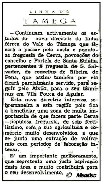 Cerva - Jornais - Linha Férrea do Tâmega, 13SET1946.