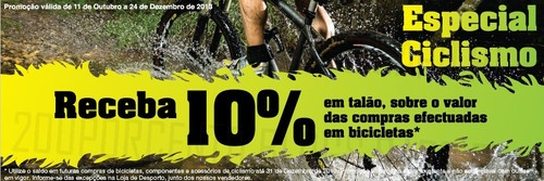 10% desconto em bicicletas no EL CORTE INGLÉS de 11 a 24 Dezembro