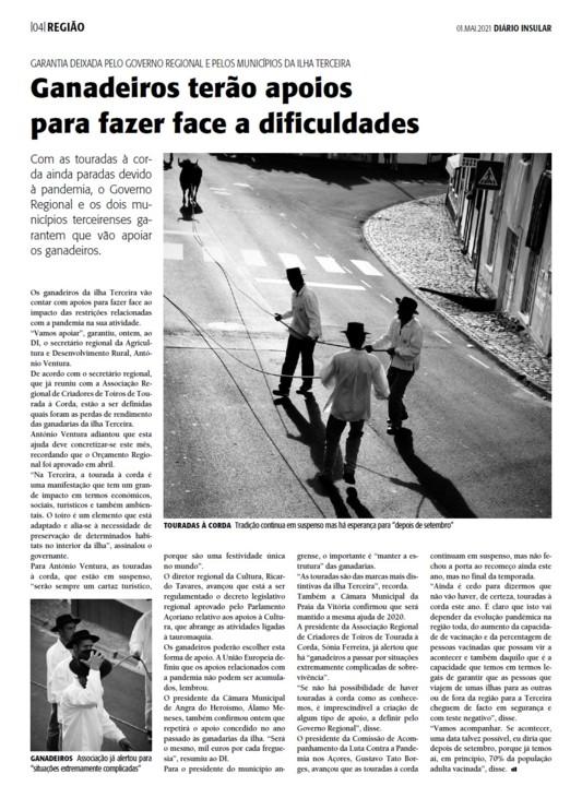 Apoios às touradas Diário Insular 1 de maio de 2