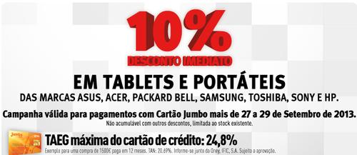 10% em Tablets e Portáteis