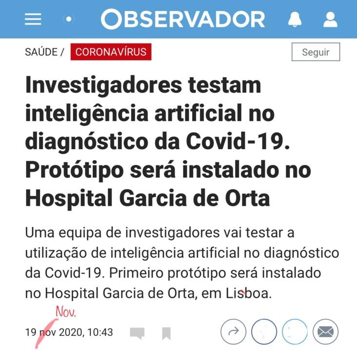 Maria Martinho, «Investigadores testam inteligência artificial no diagnóstico da COVID-19…», in Observidor (isto mesmo), 19/XI/2020