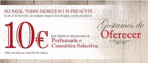 Vale de 10€ | EL CORTE INGLÉS | Perfumes até 24 dezembro