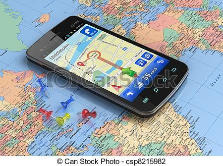 mapa-gps-smartphone-navegação-mundo-banco-de-fot