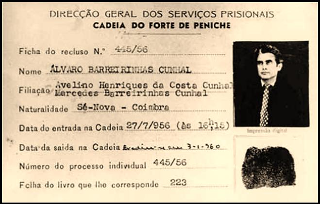 Ficha de recluso de Álvaro Cunhal_Peniche_in Vis