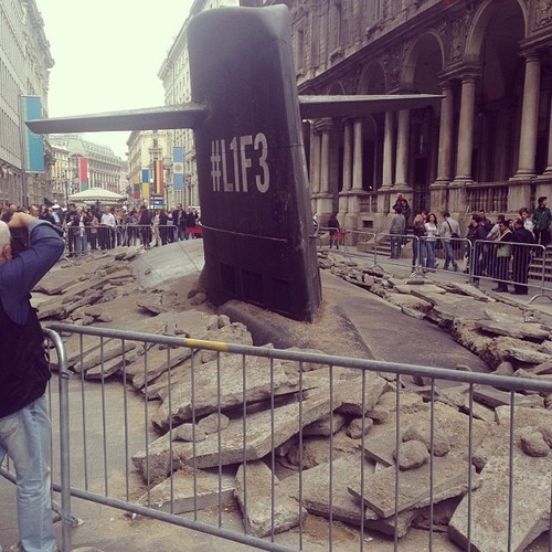 Giant Submarine Crashes Through Streets of Milan.j