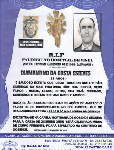 RIP- DE DIAMANTINO DA COSTA ESTEVES-85 ANOS (GOSEN