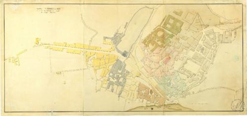 Mapa topográfico da cidade com a divisão das fre