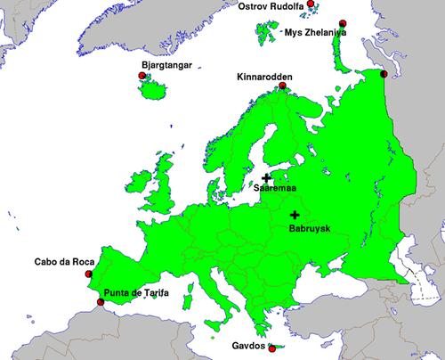 O centro da Europa. Estónia ou Bieolorússia são