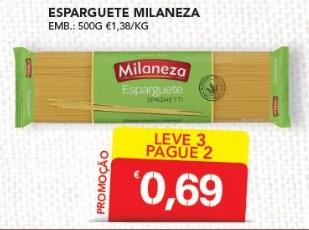 Acumulação L3P2 + 50% de desconto em Massa Esparguete Milaneza no Continente, apenas dia 21 Outubro