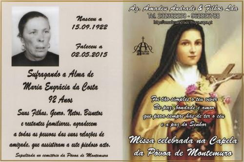 CARTÃO  DE MARIA ENGRÁCIA DA COSTA-92 ANOS  (PÓ