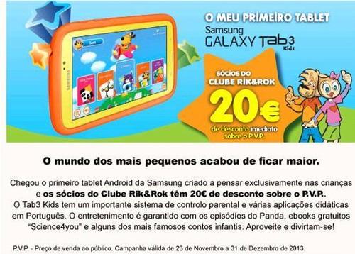 Samsung Galaxy Tab 3 Kids -20€ para sócios do clube RIK&ROK