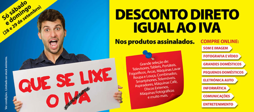 Rádio Popular, que se lixe o iva, desconto direto igual ao iva do produto, 28 e 29 Setembro