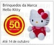 50% desconto brinquedos hello kitty