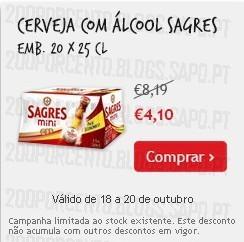 Super-Preço | CONTINENTE | Cerveja Sagres, até 20 Outubro