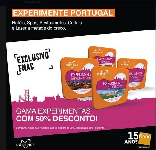 Experimente Portugal com 50% desconto | FNAC | até 31 Outubro