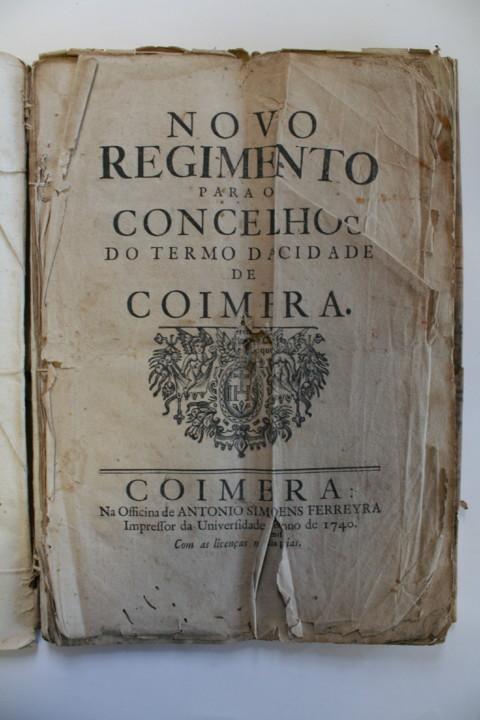 AHMC. Novo Regimento para o Concelho. 1740, fl. 1.