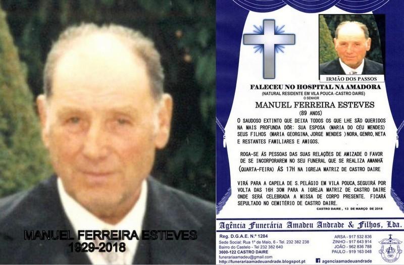 FOTO RIP- DE MANUEL FERREIRA ESTEVES -89 ANOS (VIL