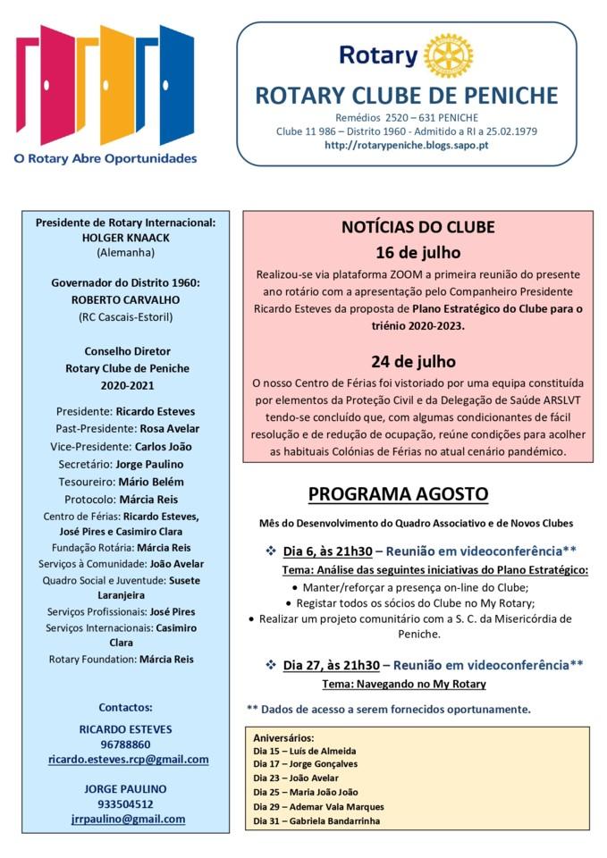 02 - Programa de agosto do Rotary Clube de Peniche