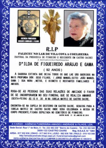 RIP- DE PROF. ILDA DE FIGUEIREDO ARUAJO E GAMA -92