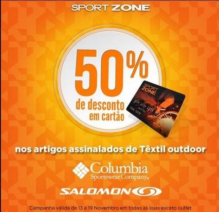 50% de desconto | SPORT ZONE | Têxtil Outdoor, desconto em cartão, nos produtos assinalados, de 13 a 19 novembro