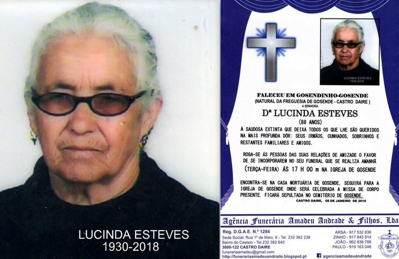 FOTO RIP-LUCINDA ESTEVES -88 ANOS (GOSENDINHO-GOSE