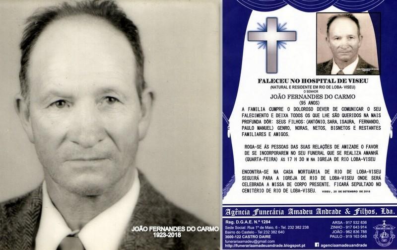 RIP FOTO -JOÃO FERNANDES DO CARMO-95 ANOS (RIO DE
