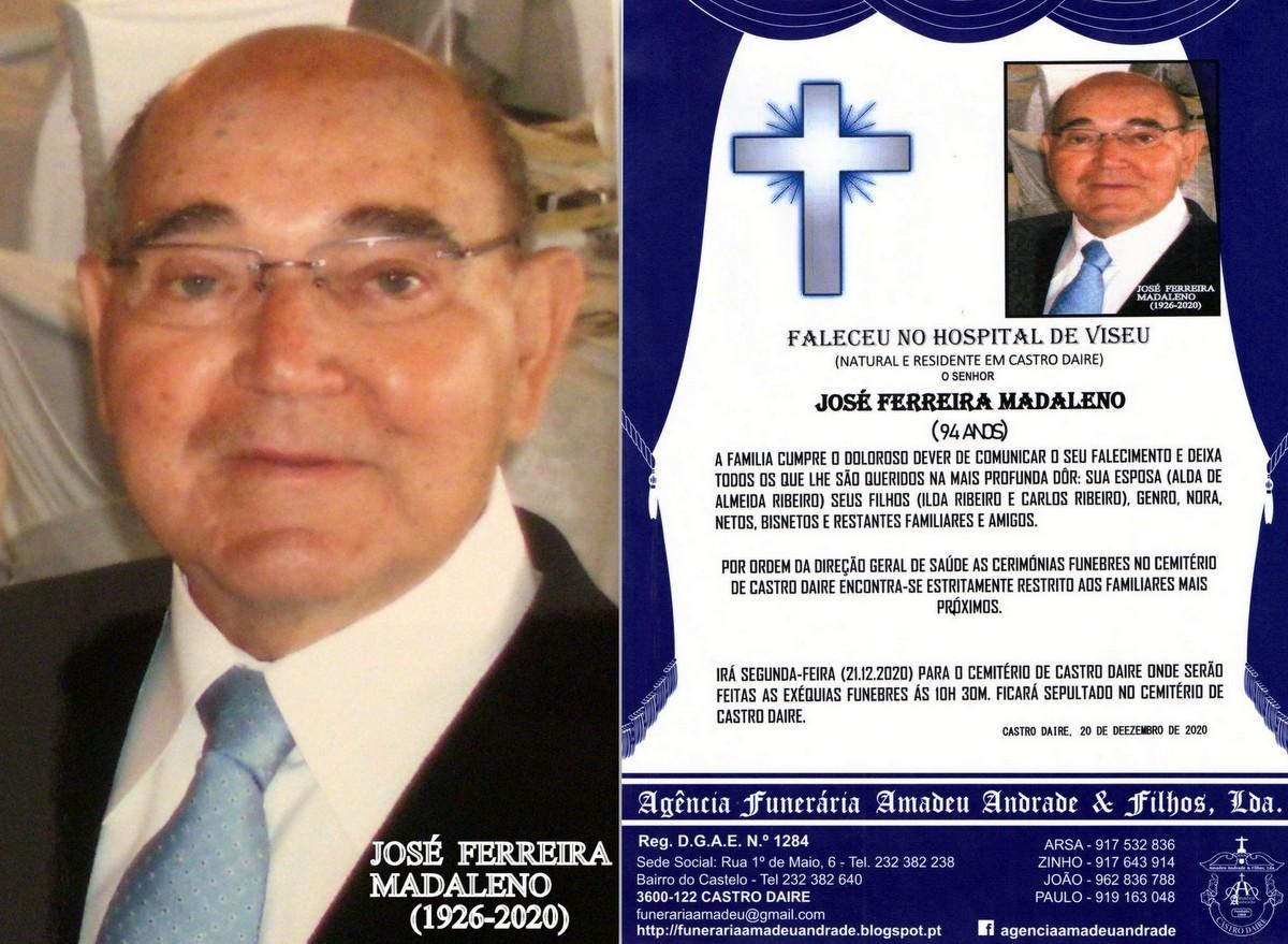 FOTO RIP  DE JOSÉ FERREIRA MADALENO-94 ANOS(CASTR