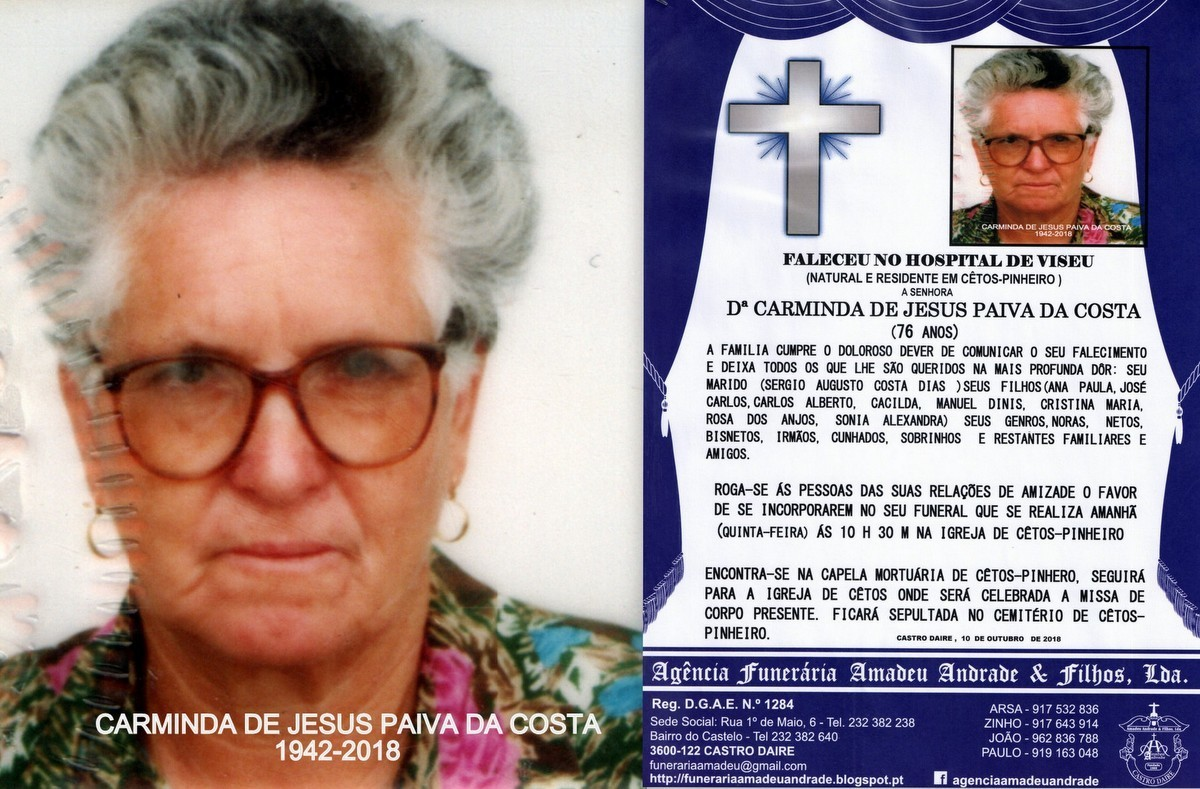 FOTO RIP- DE CARMINDA DE JESUS PAIVA DA COSTA-76 A