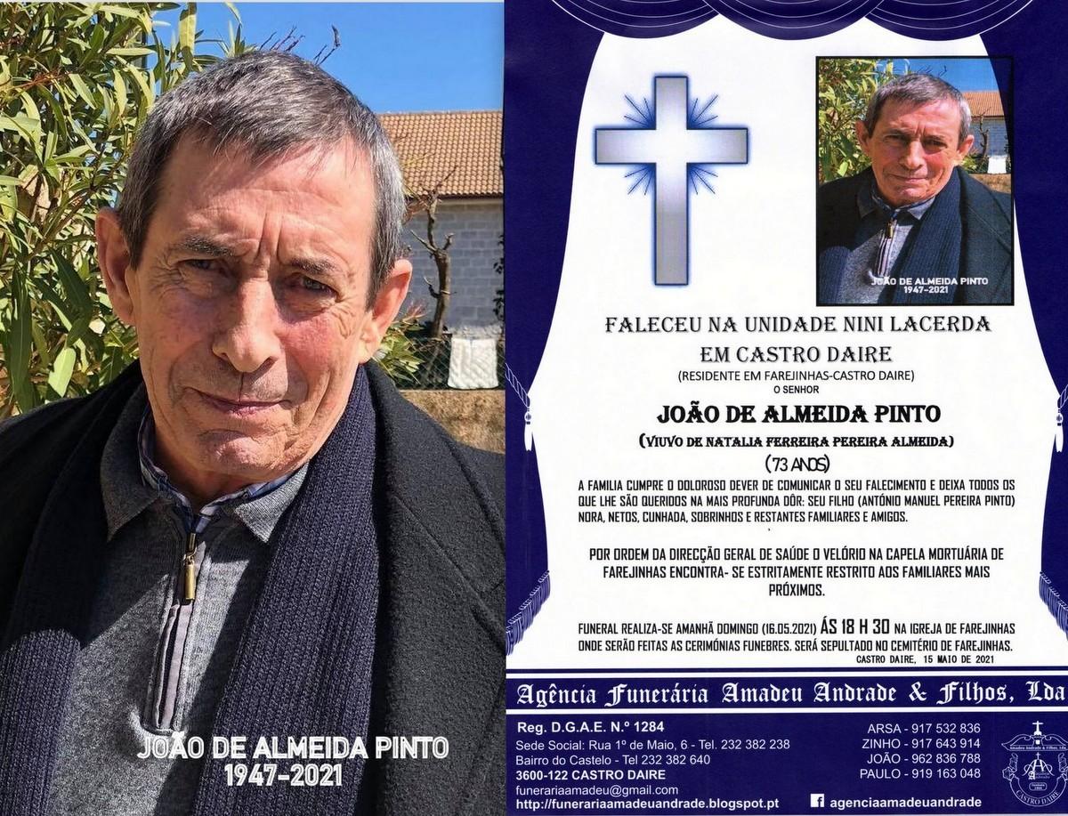 FOTO RIP  DE JOÃO DE ALMEIDA PINTO-73 ANOS (FAREJ