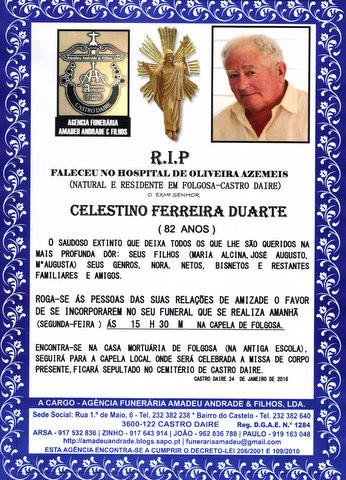 RIP- DE CELESTINO FERREIRA DUARTE -82 ANOS (FOLGOS