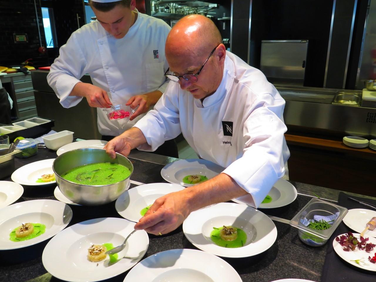 Heinz Beck e o gaspacho de vegetais e frutos verdes