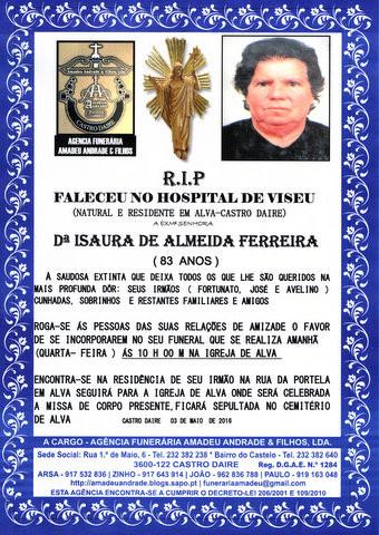 RIP -ISAURA DE ALMEIDA FERREIRA  -83 ANOS (ALVA-CA