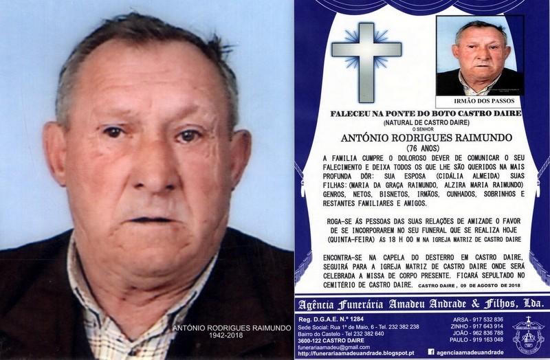 FOTO RIP DE ANTÓNIO RODRIGUES RAIMUNDO-76 ANOS (P