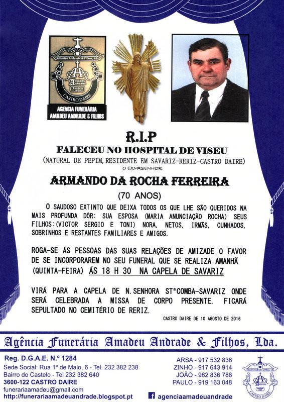RIP-DE ARMANDO DA ROCHA FERREIRA-70 ANOS (SAVARIZ-