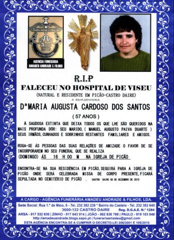 RIP2- DE MARIA AUGUSTA CARDOSO DOS SANTOS-57 ANOS