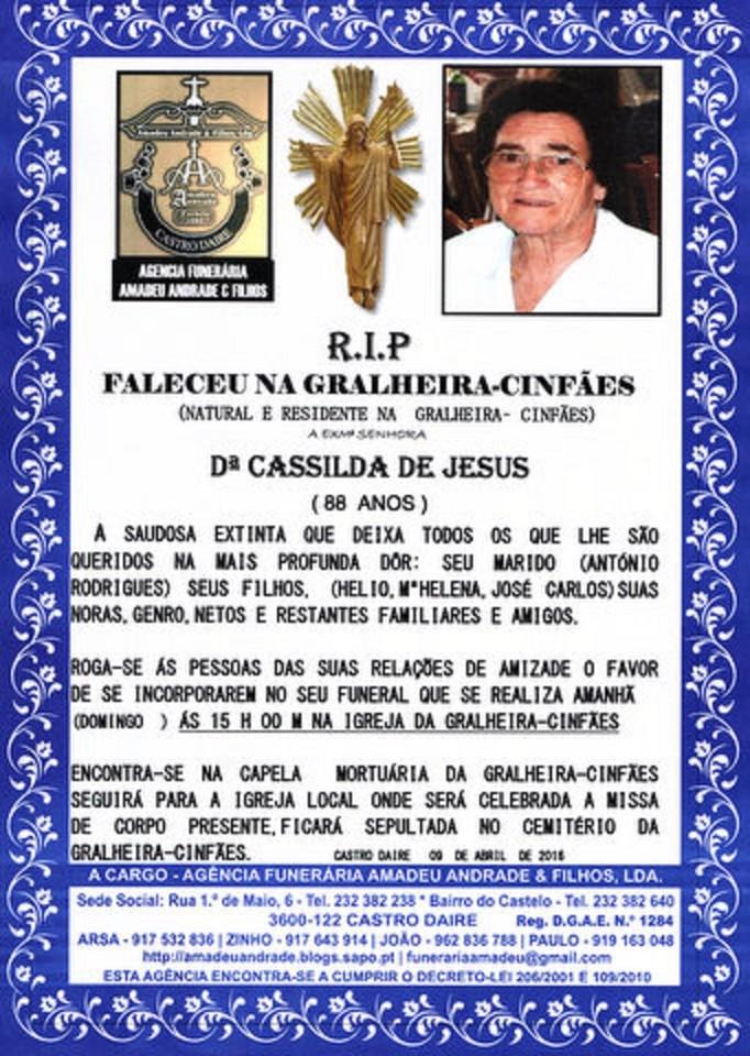 RIP- DE CASSILDA DE JESUS-88 ANOS (GRALHEIRA-CINF