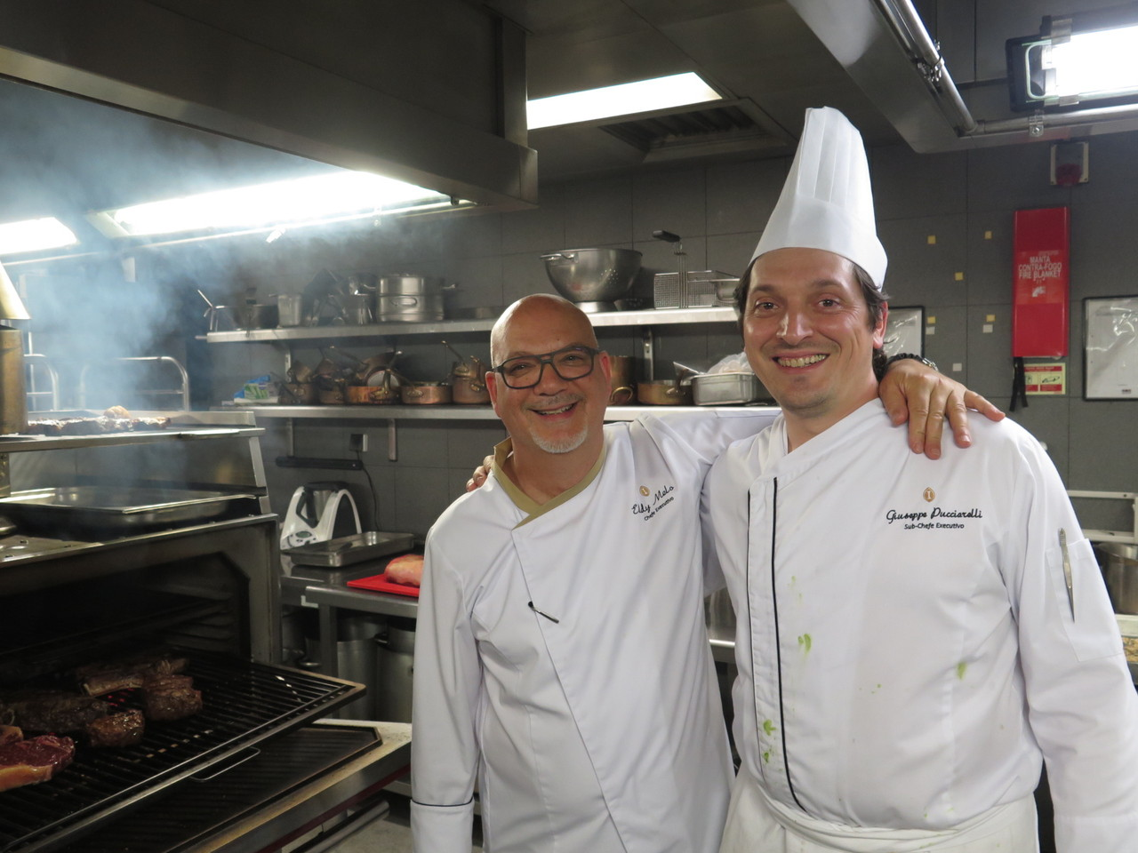 Eddy Melo e o sub-chef Giuseppe Pucciarelli