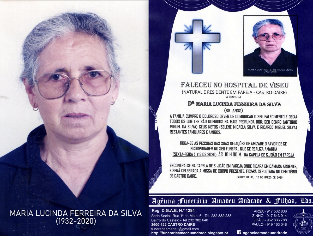 FOTO RIP DE MARIA LUCINDA FERREIRA DA SILVA -88 AN