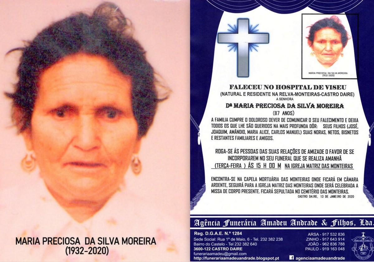 FOTO RIP-MARIA DE PRECIOSA DA SILVA MOREIRA-87 ANO