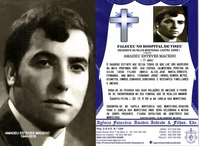 FOTO RIP- DE AMADEU ESTEVES MACEDO-77 ANOS (RELVA-