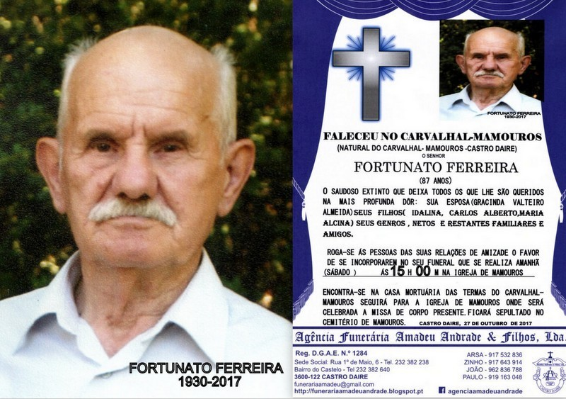 FOTOE RIP DE FORTUNATO FERREIRA -87 ANOS (CARVALHA