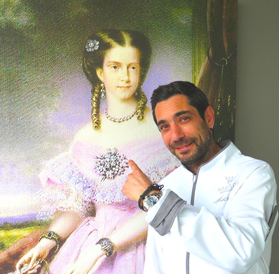 Pedro Mendes e a Rainha Dona Maria Pia